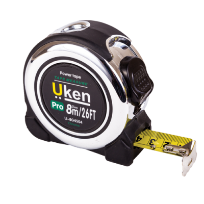 MEASURING TAPE 8 MTR (25MM) CHROME WITH RUBBER