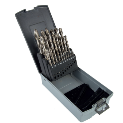 HSS DRILL BIT SET 1-13MM (25 PCS - 1, 1.5, 2, 2.5, 3, 3.5, 4, 4.5, 5, 5.5, 6, 6.5, 7, 7.5, 8, 8.5, 9, 9.5, 10, 10.5, 11, 11.5, 12, 12.5, 13)